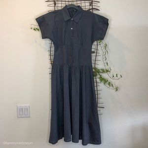 NWT ZARA Gray Collared Dress with 6 Snap Buttons